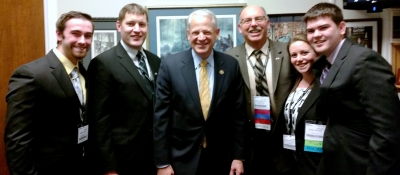 Congressman Steve Israel (center) with Drs. Wolfson and Brown, and NYCC SACA students