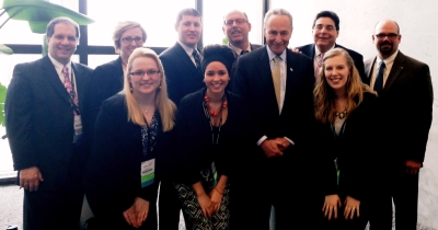 Senator Shumer with NYCC President Dr. Frank Nicchi, NYCC Executive Vice President Dr. Michael Mestan, NY ACA Delegate Dr. Bill Wolfson, NY ACA Alternate Delegate and NYSCA VP Dr. Jason Brown, NYCC Faculty Dr. Bill Lauretti and NYCC SACA students.